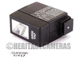 Sunpak GX17 Ultra Compact Manual Flash Unit for many older Cameras with Hot Shoe and Synchro Cable